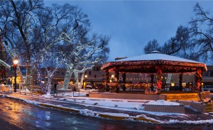 Taos Plaza at Christmas by Terry Thompson